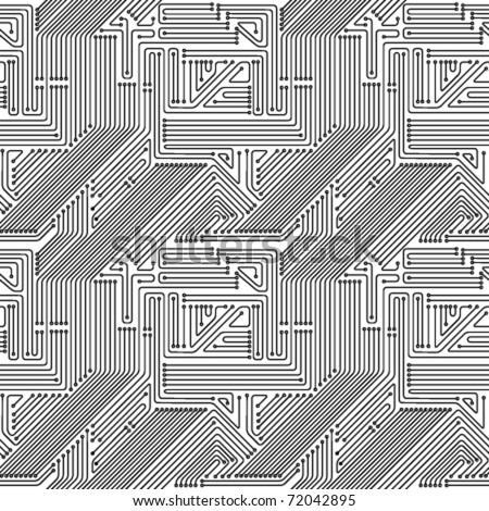 Seamless pattern. Computer circuit board. Electronic technology vector background.
