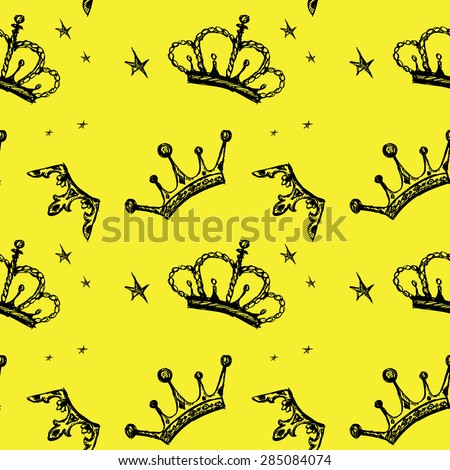 Seamless pattern crown on a yellow background. Seamless pattern can be used for wallpaper, pattern fills, web page backgrounds, surface textures. - stock vector