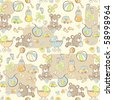 Seamless pattern - Cute baby pattern - stock vector