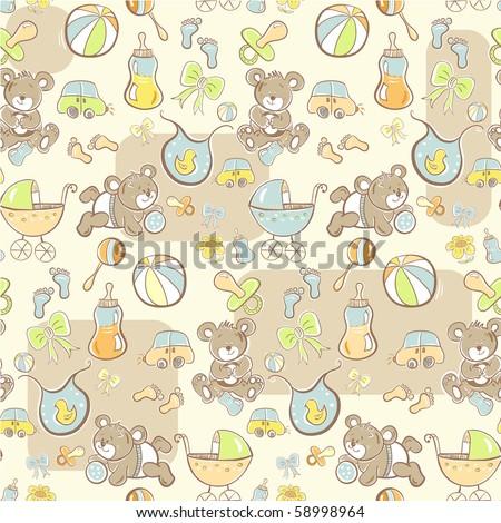 Seamless pattern - Cute baby pattern - stock vector
