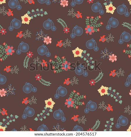 Seamless  pattern .Cute floral stylized arrangement in retro style .Use for fabrics, Wallpaper,background,packaging paper.Vintage vector illustration