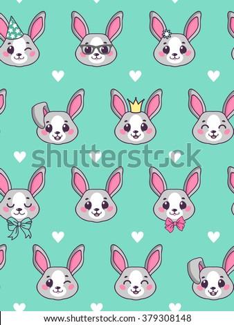 Seamless pattern. Cute little Bunny on a blue background for your design.  Cute rabbit vector art background design for fabric and decor. Pattern cute rabbits for children. Gift Wrap. Vector.  - stock vector