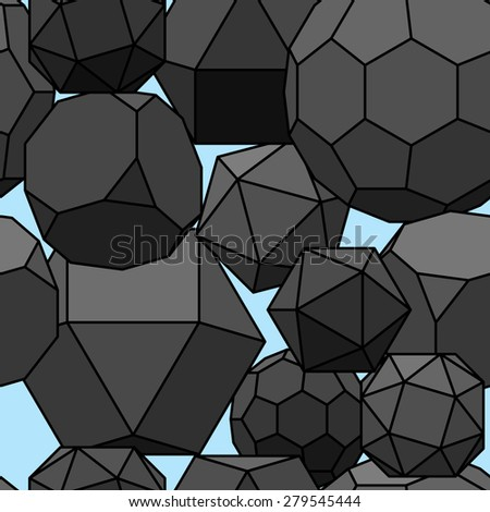 Seamless pattern 3d geometric shapes. Vector illustration. - stock vector