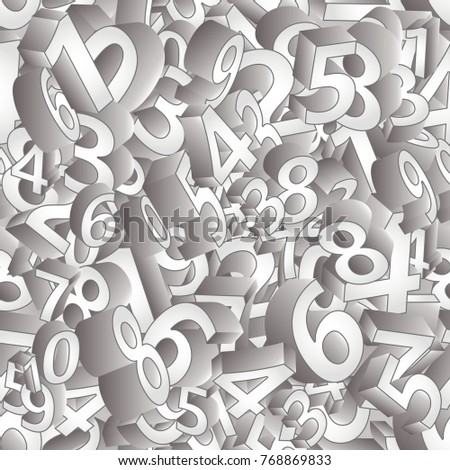 Seamless pattern 3D numbers  , vector illustration