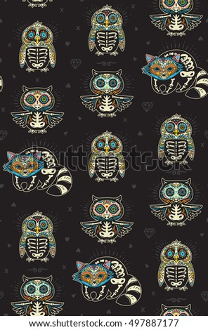 Seamless pattern - Day of The Dead cartoon calaveras sugar penguin, owl and raccoon skulls. Mexican vector black background for holiday Dia de Muertos