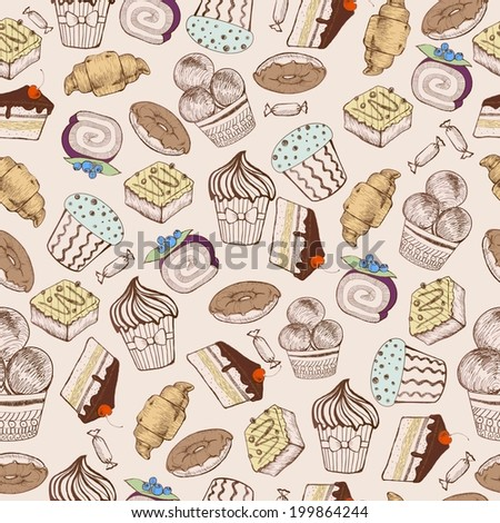Seamless pattern. Decorative sweet cakes. Sketch drawing