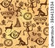 Seamless pattern depicting shamans, animals and characters in the style of rock art. - stock vector
