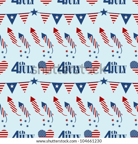 Seamless pattern design for Independence Day. - stock vector