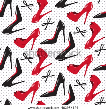 Seamless pattern design for package of shoes. Red and black shiny glossy high heeled shoes over dotted background vector illustration. - stock vector
