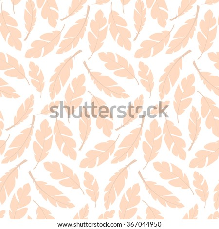 Seamless pattern design with bohemian hand drawn feathers, vector illustration - stock vector