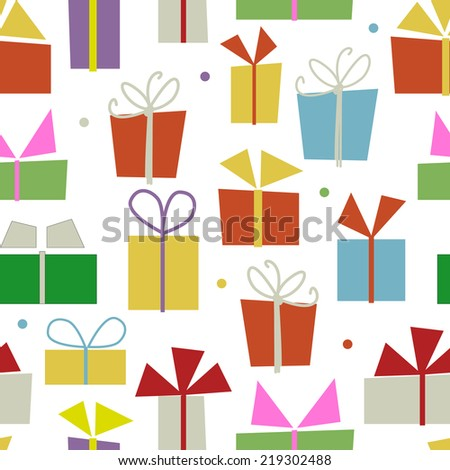Seamless pattern design with gift boxes - stock vector