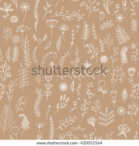 Seamless pattern drawn by hand, kraft paper background.