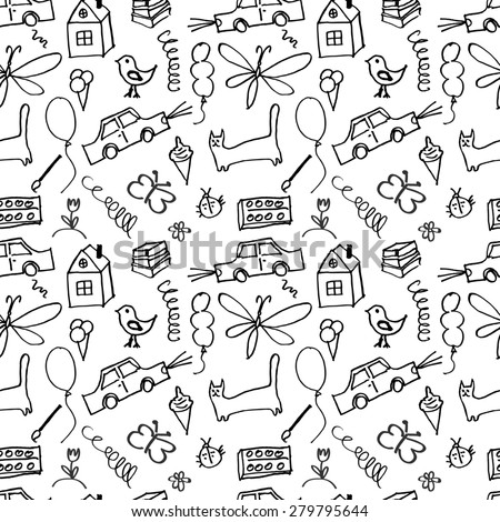 Seamless pattern, drawn in a childlike style. Vector illustration.  - stock vector