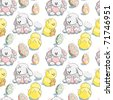 Seamless pattern - Easter eggs, chicks and bunnies - stock vector