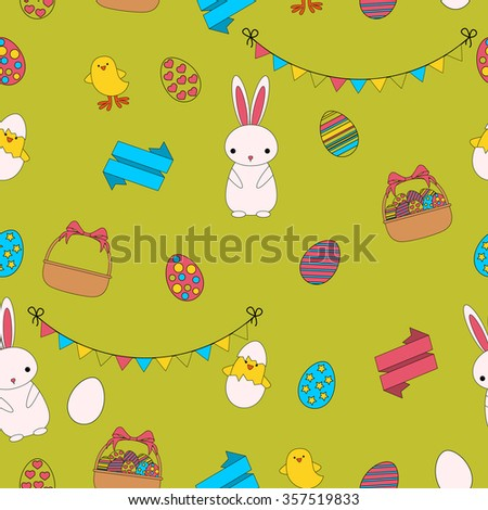 Seamless pattern Easter. Rabbit, chick and eggs. Flat line design. Vector illustration