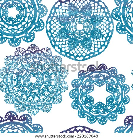 Crochet Patterns Vector : stock-vector-seamless-pattern-elegant-lacy-watercolor-doilies-vector ...