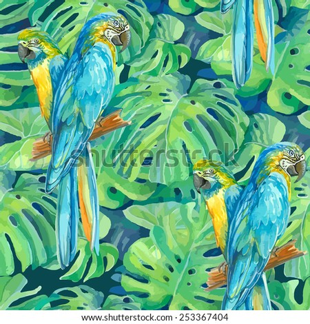 seamless pattern element of two ara parrots and leaves of monstera - stock vector