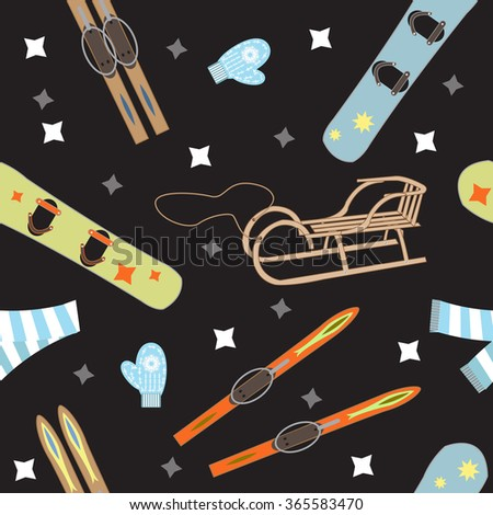 seamless pattern equipment for winter sports on a black background