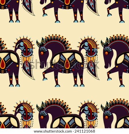 seamless pattern fabric with unusual tribal animal in ukrainian karakoko style, repetitive folk background, vector illustration - stock vector