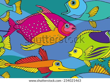 Seamless Pattern Fish Bright  Color