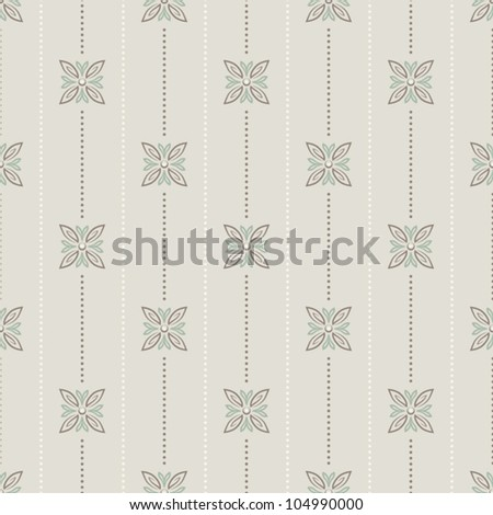 Seamless pattern floral and vertical lines - stock vector