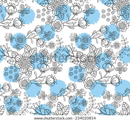 Seamless Pattern Floral Black &White & Blue Circle - stock vector