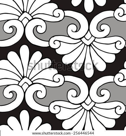 Seamless Pattern Floral Ornament Black & White - stock vector