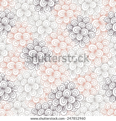 Seamless pattern flowers. Hand drawn - stock vector