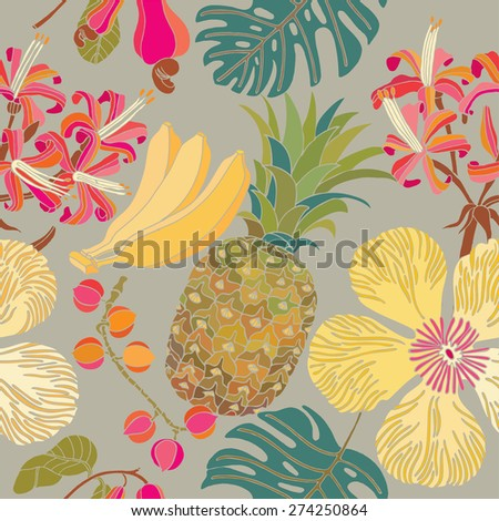 seamless pattern, flowers pattern, hibiscus, tropical flowers, beach - stock vector