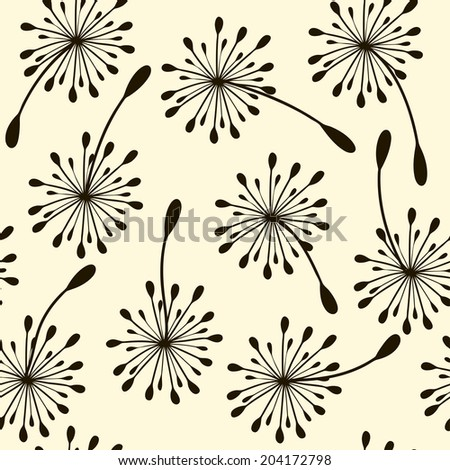 seamless pattern. Flying of dandelion seeds. Stylish repeating texture. vector - stock vector