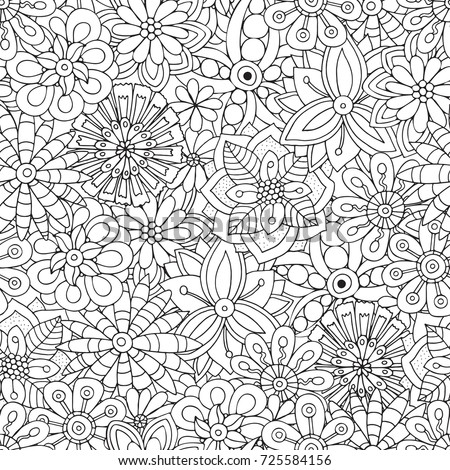 Seamless Pattern For Adult Coloring Book With Flowers Ethnic Floral Retro Doodle