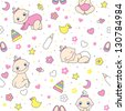 Seamless pattern for baby girls. Vector illustration - stock photo