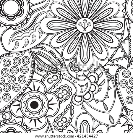 Seamless pattern for coloring book.  Coloring page with floral elements for adult and older children