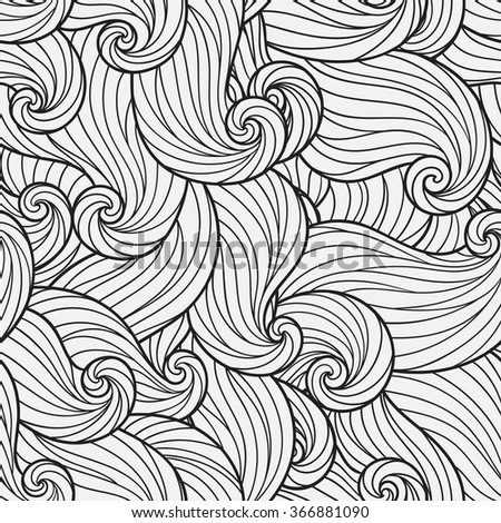 Seamless Pattern for coloring book. Ethnic, floral, retro, doodle, vector, tribal design element. Black and white background. Doodle vector background Henna paisley mehndi doodles design element - stock vector