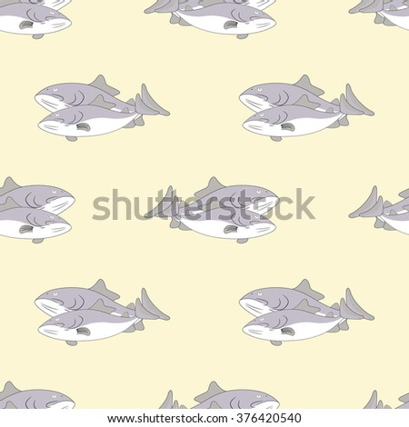 Seamless pattern for cooking fresh fish - stock vector