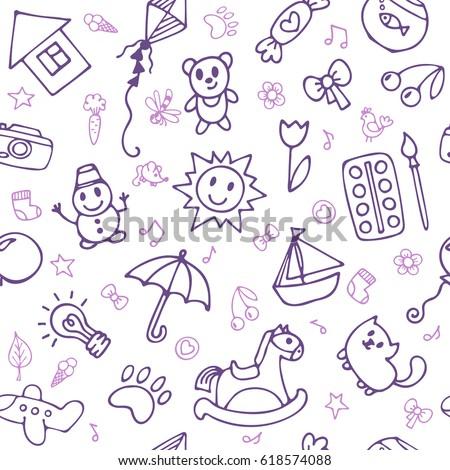 seamless pattern cute little boys girls stock vector 618574088