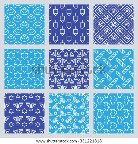 Seamless pattern for Jewish holiday Hanukkah. Vector illustration - stock vector