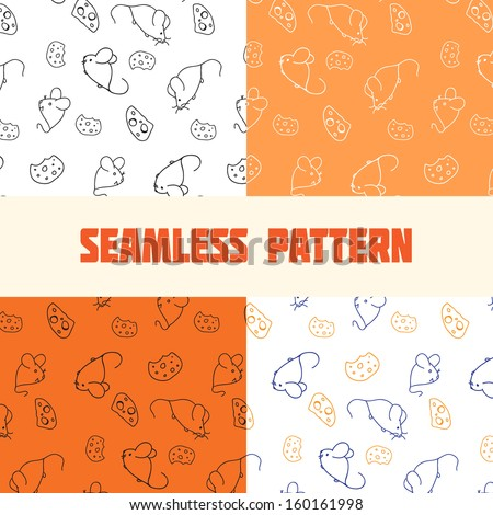 seamless pattern for textile and craft of mice and cheese. Set black and white, orange, blue on white