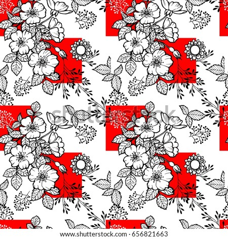Seamless Pattern For Textile Fabric Paper Wallpaper Rose Black And White Floral
