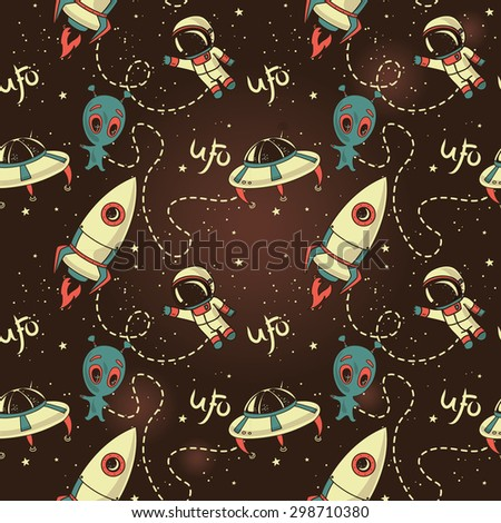 Seamless pattern for ufo ,vector illustration - stock vector