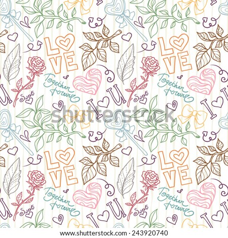 Seamless pattern for Valentine's day with hearts, flowers, letters, doodle elements - stock vector