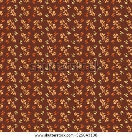 Seamless pattern for wallpaper or fabric. EPS10 vector art. Floral elements on a brown background. - stock vector
