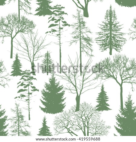 seamless pattern. Forest background. Vector - stock vector