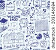 Seamless pattern freehand drawing of school supplies in notebook - stock