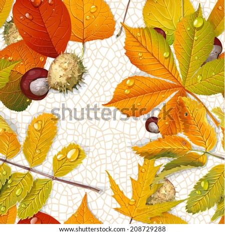 Seamless pattern from autumn leaves and chestnut on the  thread of leave background - stock vector