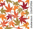 seamless pattern from autumn maple leaves on white background - stock vector