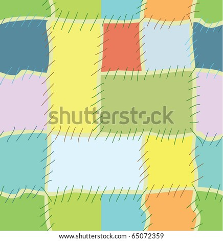 Seamless pattern from colorful patchwork quilt - stock vector