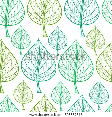 Seamless pattern from decorative leaves work fine hand-drawn