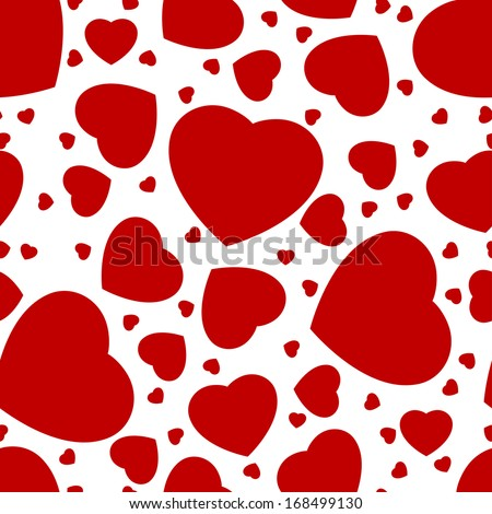 seamless pattern from hearts on a white background - stock vector