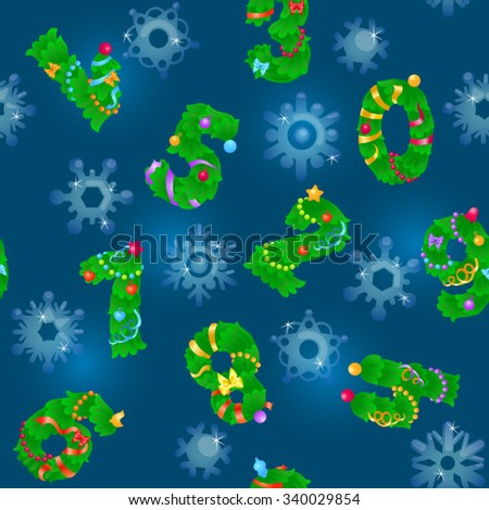 Seamless pattern from numbers like fir / Pattern from numbers like fir and icy snowflakes on navy background